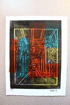 """ORIGINAL grabado LINOCUT collage PÉRGOLAS 17,5 X 23 cm (6,8"""" x 9"""")"""