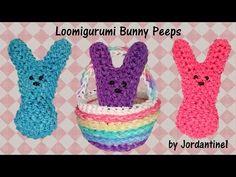 3D Easter Bunny Peeps Loomigurumi Amigurumi Rainbow Loom Band Crochet Hook Only - YouTube