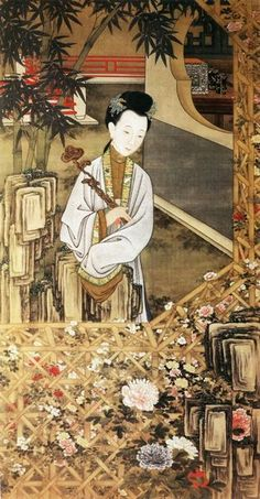 "Chinese paintings from Qing Dynasty (1644-1912) of some ancient ""beauties"" in their daily livings"