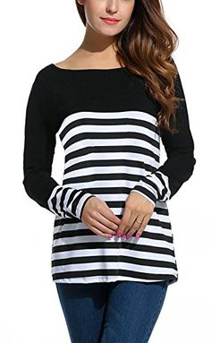 58731adf25e93c Bluetime Women s Long Sleeve Striped Patchwork Casual Loose T Shirt Blouse  Tops at Amazon Women s Clothing store