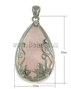 Crystal Pendants, Zinc Alloy, with Rose Quartz, Teardrop, platinum color plated, with rhinestone, nickel, lead & cadmium free, 25x42x9mm,china wholesale jewelry beads
