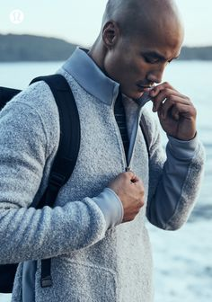 hen the mountains call, we answer with wool-blend fleece. A fabric that goes hand in hand with outdoor exploration, feel it for yourself Lululemon Men, Fitness Photoshoot, Athleisure Outfits, Mens Activewear, Athletic Outfits, Sport Wear, Active Wear For Women, Wool Blend, Men Sweater
