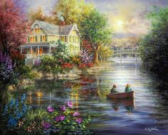 Old victorian on the pond by Nicky Boehme