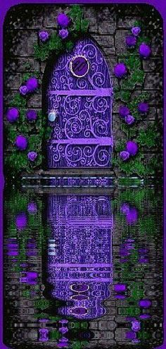 how beautiful is this purple door reflecting on the water Cool Doors, The Doors, Unique Doors, Windows And Doors, Front Doors, Purple Door, When One Door Closes, Grand Entrance, Entrance Ideas