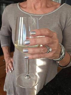 """#Cheers to the weekend! Celebrating with white wine and sparkly silver """"Tinseltown!"""" #FridayFunday"""