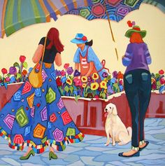 """""""Painting, """"Pick Me,"""" contemporary flower market scene painting with figures"""" - Original Fine Art for Sale - © Carolee Clark"""