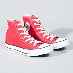 Converse Women's Red All Star Core Hi Trainers ($63) ❤ liked on Polyvore featuring shoes, sneakers, red hi tops, red sneakers, star shoes, red trainer and rubber sole shoes