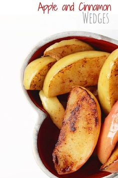 Apple wedges lightly fried in coconut oil and cinnamon. A great snack for blw as they are soft enough for a baby to gum and easy for them to grip.