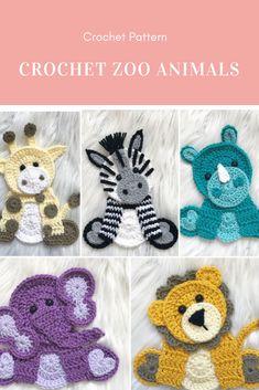 Crochet Animals Elephant Knitting And Crocheting Crochet Applique Patterns Free, Crochet Animal Patterns, Stuffed Animal Patterns, Crochet Animals, Crochet Motif, Crochet Appliques, Crochet Zebra, Crochet Elephant, Cute Crochet