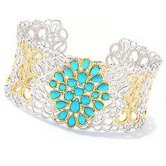 """153-081 - Gems en Vogue 7.5"""" Multi Shape Sleeping Beauty Turquoise Cuff Bracelet"""