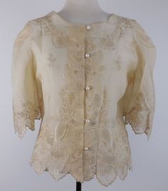 Vtg Embroidered Blouse Beige Cream Silk Lace Women's Sz L XL #Unbranded #Blouse