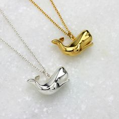 Our Whale Necklace in silver and gold plate http://www.janareinhardt.com/collections/polar-nights-jewellery/products/whale-necklace