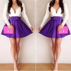 Sexy Plunging Neck Long Sleeve Spliced Bowknot Embellished Women's DressClub Dresses | RoseGal.com