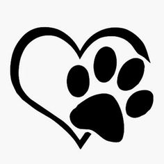 Dog footprint with heart