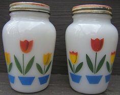 Look what I found on @eBay! http://r.ebay.com/xCczbn Vintage FIRE KING Tulips Salt Pepper Shakers Original Screw on Metal Lids 1950s