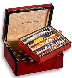 Venlo Triple Burlwood Special Purchase 10 Slot Pen Case-have one sort of like this one, only larger Ink Link, Fancy Pens, Pen Storage, Just Ink, Pen Turning, Calligraphy Pens, Dip Pen, Fountain Pen Ink, Pen Case