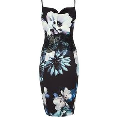 Lipsy Floral Bodycon Midi Dress (215 RON) ❤ liked on Polyvore featuring dresses, women, flower print dress, body conscious dress, bodycon midi dress, sleeveless bodycon dress and body con dress