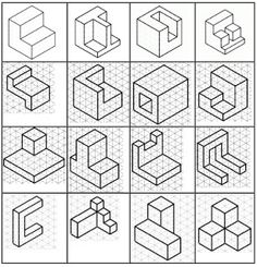 Resultado de imagen para isometric drawing exercises for kids Isometric Sketch, Isometric Design, Isometric Drawing Exercises, Orthographic Drawing, Orthographic Projection, Geometric Construction, Interesting Drawings, Cad Drawing, Woodworking Patterns