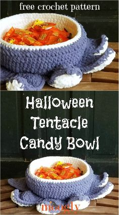 The Halloween Tentacle Candy Bowl is a fun, fast, and festive free crochet pattern made in Bernat Blanket! Get it on Moogly! #freecrochetpatterns #halloweendecor #halloweendecorations #diyhalloween #mooglyblog #yarnspirations #CALCentralCrochet #HalloweenCAL2020 Quick Crochet, Crochet Fall, Holiday Crochet, Free Crochet, Crochet Home Decor, Crochet Crafts, Crochet Projects, Crochet Books, Crochet Things