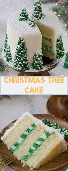 Welcome to our kitchen recipe,,we hope you like it. Christmas Tree Cake A delicious vanilla Christmas tree cake with creamy, dreamy vanilla buttercream, covered with beautiful Christmas trees that turn this cake into a winter wonderland. Fondant Christmas Cake, Christmas Cupcakes Decoration, Christmas Tree Cake, Christmas Deserts, Christmas Treats, Christmas Baking, 1st Christmas, Fondant Cakes, Cupcake Cakes