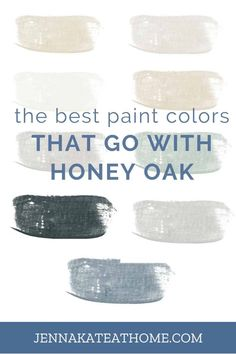 Update the look of your honey oak cabinets or oak trim with these beautiful wall paint colors. These modern paint colors will make you love your kitchen, bedroom, living room and office again. Best Wall Colors, Best Paint Colors, Wall Paint Colors, Paint Colors For Home, Gray Paint, Orange Cabinets, Honey Oak Cabinets, Honey Oak Trim, Oak Wood Trim