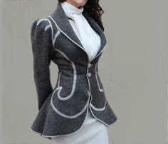 Wool Peplum Coat made from Repurposed Military Blanket