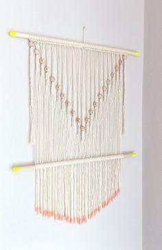 "Modern macrame wall hanging ""Fallen Tears no.9"" custom piece, HIMO ART by May Sterchi"