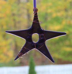 Purple Glass Star Ornament Purple Star by conwaysstainedglass