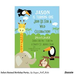 Safari Animal Birthday Party Invitation