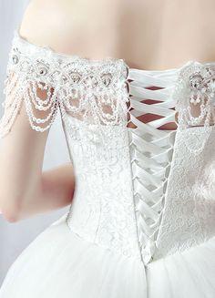 Hochzeit Kleid Ball Kleid Maxi Braut Spitzenkleid aus der Schulter rückenfreie Friesen gestaffelte Ketten weiße Prinzessin Brautkleid