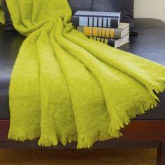 Foreign Affairs Home Decor Angora Mohair Throw Color: Lime