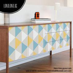 muebles forrados con vinilo Lokoloko motivos geometricos