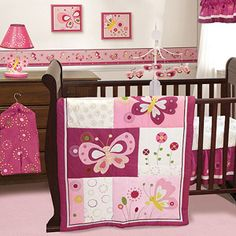 Bedtime Originals by Lambs & Ivy - Pink Butterfly 3pc Crib Bedding Collection Set - Value Bundle