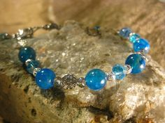 Blue Dragons Vein Agate and Crystals Bracelet, Something Blue, Handmade Womens Bracelet from The HiddenMeadow