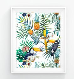 Hey, I found this really awesome Etsy listing at https://www.etsy.com/listing/267535145/pineapples-parrots-tropical-flowers