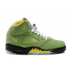 Air Jordan 5(V) Fluff Grass Green Black Yellow   $84.00  http://www.jordanpatros.com