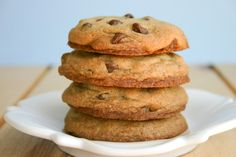 Chocolate Chip Cookies for Two. The whole recipe makes 4 cookies.  (Because sometimes you just want to make 4 cookies and not have to worry about the other 20 that you SAY you're going to give away to family and friends so you won't eat 'em.  True story.)