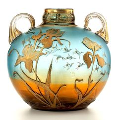 Art Nouveau Victorian art glass vase, circa deeply etched with lilies and painted in gilt with flying cranes (via artfact) Jugendstil Design, Modernisme, Art Of Glass, Art Nouveau Design, Wow Art, Victorian Art, Glass Ceramic, Wassily Kandinsky, Antique Glass