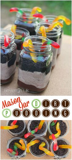 Use packaged pudding and crushed cookies so they can assemble on their own. Mason Jar Dirt Pudding with Gummi Worms - a delicious, easy, and kid-pleasing dessert with Oreos, chocolate pudding, and Cool Whip! Mason Jar Desserts, Mason Jar Meals, Meals In A Jar, Easy Desserts, Delicious Desserts, Dessert Recipes, Jar Recipes, Oreo Desserts, Mason Jar Food