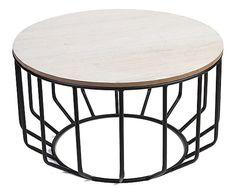 Tavolino in metallo e legno Top nero/naturale, 50x29x50 cm