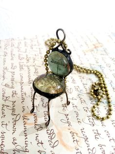 Chair Necklace Glass Map Chair Quirky Jewelry by Mystarrrs on Etsy