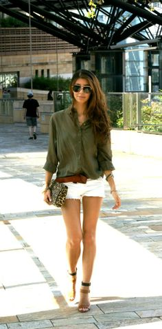 White shorts & a button up shirt. Spring & Summer Fashion For 2013.