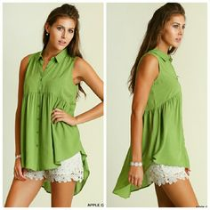 **New** HI LOW TUNIC Apple green button up high low tunic  Love this look? The shorts are available!  Price firm  5% off 2 item bundle  10% off 3 or more bundle Tops Tunics