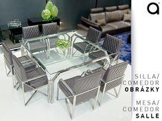 El comedor del hogar puede lucir un estilo contemporáneo o moderno si se combina con materiales como la piel y el acero en el diseño de las sillas; éstas pueden ir acompañadas de una mesa con líneas diagonales y vidrio blanco que le aportarán protagonismo al lugar.