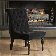 @Overstock - Christopher Knight Home Wadsworth Tufted Black Velvet Dining Chair - Provide your room with an elegant decorative upgrade by adding this lovely black velvet dining chair. The comfortable button-tufted chair features a rolled back and carved hardwood legs that give your room a highly styled European touch.  http://www.overstock.com/Home-Garden/Christopher-Knight-Home-Wadsworth-Tufted-Black-Velvet-Dining-Chair/7595507/product.html?CID=214117 $261.99