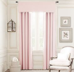 Pom-Pom Linen-Cotton Drapery Panel | Drapery | Restoration Hardware Baby & Child. Expensive! We could get curtains and sew a pom pom strip on.