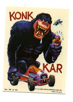 vtg Topps Weird Wheels collector sticker card HOT ROD drag race Kong Kar