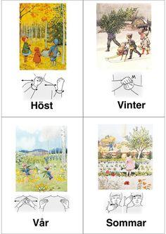 Swedish sign language : seasons of the year. Japanese Sign Language, Swedish Language, British Sign Language, Sign Language Phrases, Sign Language Interpreter, Baby Sign Language, Learn Swedish, French Signs, Baby Barn