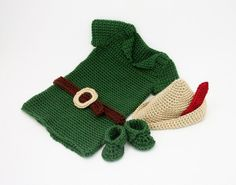 We Love Halloween crochet patterns: KnitsyCrochet's peter pan and robin hood costume on LoveCrochet Baby Costumes For Boys, Boy Costumes, Crochet For Boys, Cute Crochet, Boy Crochet, Crochet Robin, Crochet Pattern Free, Crochet Hook Sizes, Crochet Hooks