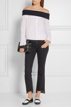 Slight heel  Black and white leather Slip on